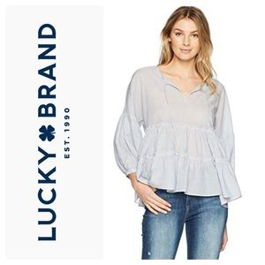 New Lucky Brand Striped Tiered-Ruffle Peasant Top
